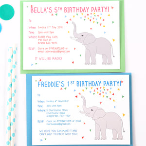 Elephant Personalised Birthday Party Invitations