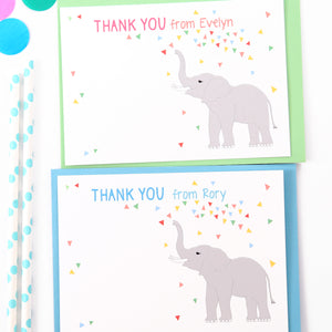 Personalised Elephant Thank You Note Cards