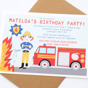 Firefighter Personalised Birthday Party Invitations