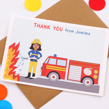 Firefighter Personalised Child Thank You Note Cards