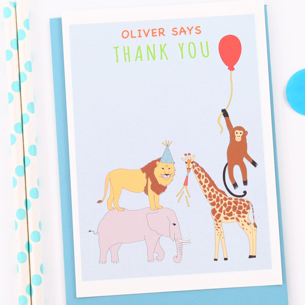 Jungle Personalised Thank You Note Cars