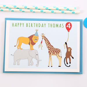 Jungle Personalised  Child Birthday Card