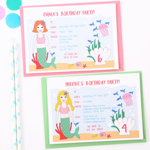 Mermaid Personalised Birthday Party Invitations