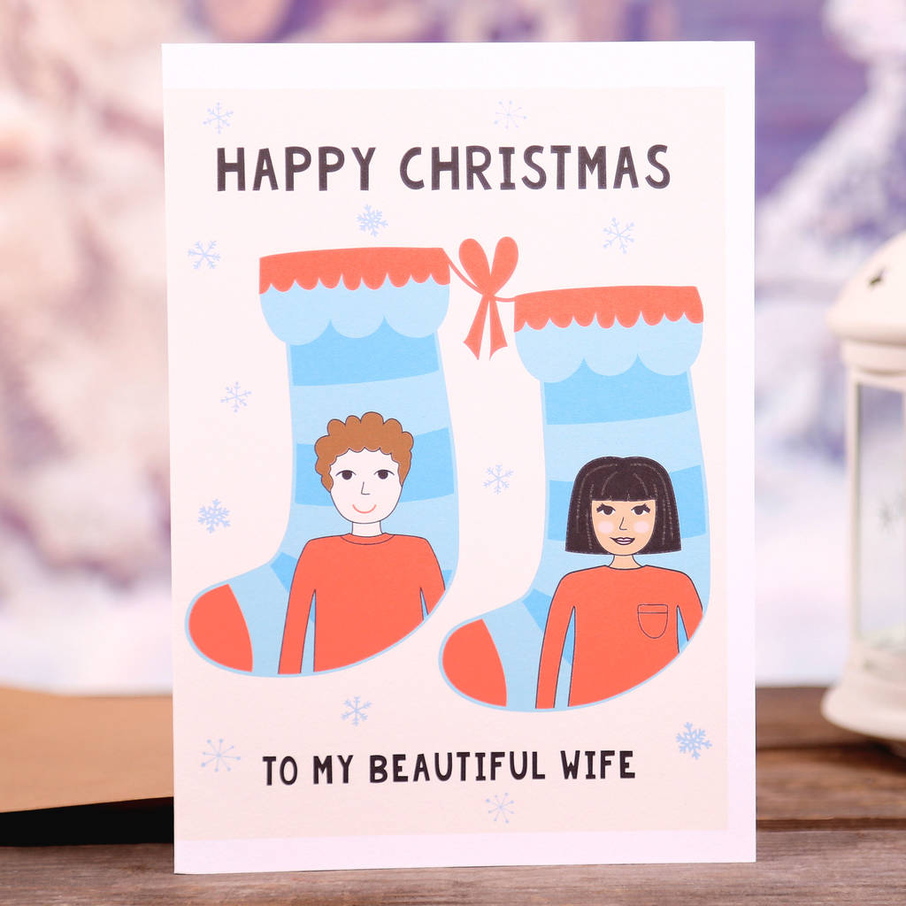 Personalised Couple Christmas Stocking Card