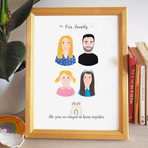 Personalised Family Portrait 2020 Lockdown Keepsake Print