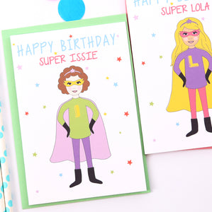 Superhero Girl Personalised Birthday Card