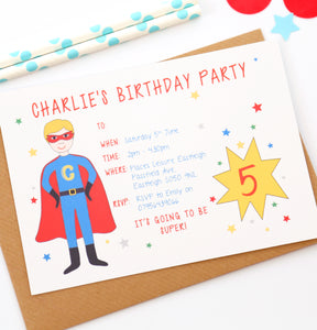 Superhero Personalised Party Invitations