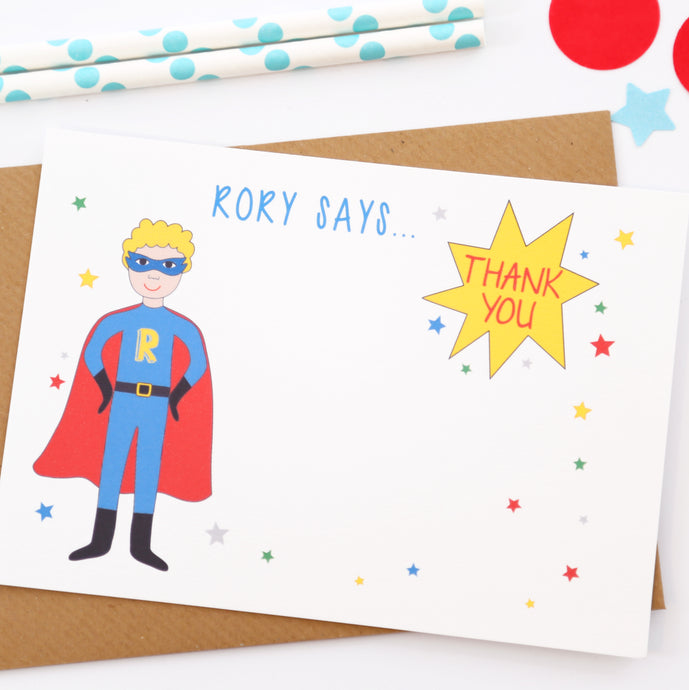 Superhero Personalised Boy Thank You Note Cards