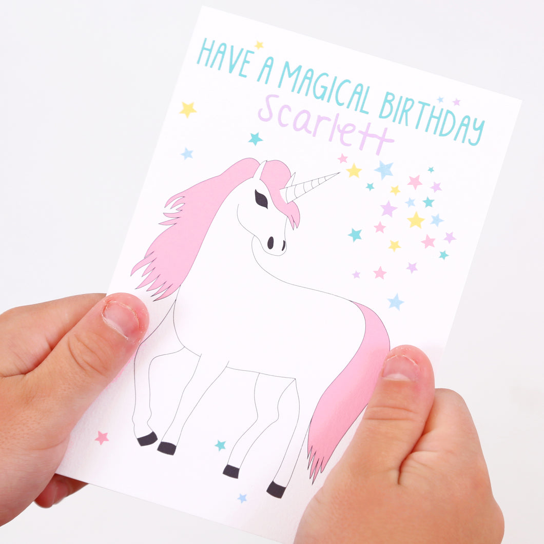 Unicorn Personalised Birthday Card