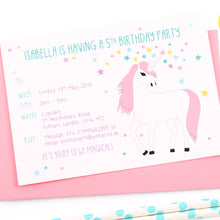 Unicorn Personalised Birthday Party Invitations