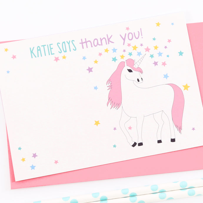 Unicorn Personalised Thank You Note Cards