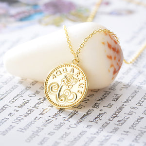 Aquarius - Sterling Silver 18ct Yellow Gold Aquarius Star Sign Coin Necklet /Pendant | G by Glenda Gilson