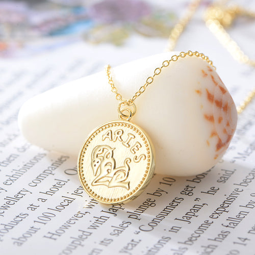 Aries Sterling Silver 18ct Yellow Gold Aries Star Sign Coin Necklace from G by Glenda Gilson