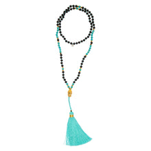 "BALI: Turquoise Beaded ""Bali"" Necklace with Gold Plated Buddha 