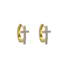 18ct Gold Plated Sterling Silver Cubic Set Cross Huggy Earrings