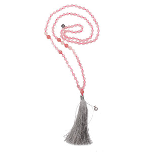 "SICILY: Rose Quartz Beaded ""Sicily"" Necklace with Grey Tassel 