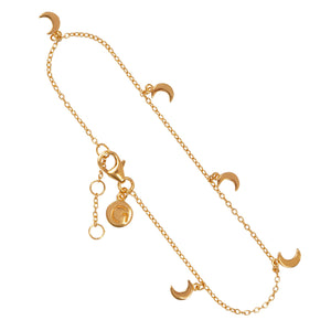 "NEW YORK – Sterling Silver 18ct Yellow Gold ""New York"" Bracelet with Moon Shape Charms"