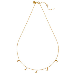 "NEW YORK– Sterling Silver 18ct Yellow Gold ""New York"" Necklace with Moon Shape Charms"