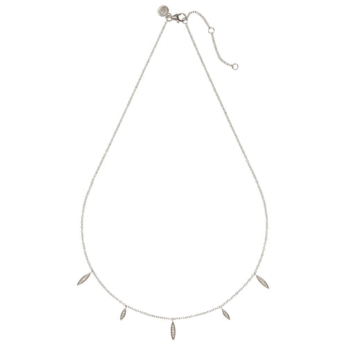 "RIO – Sterling Silver ""Rio"" Necklace with crystal set Marquise Shape Charms"