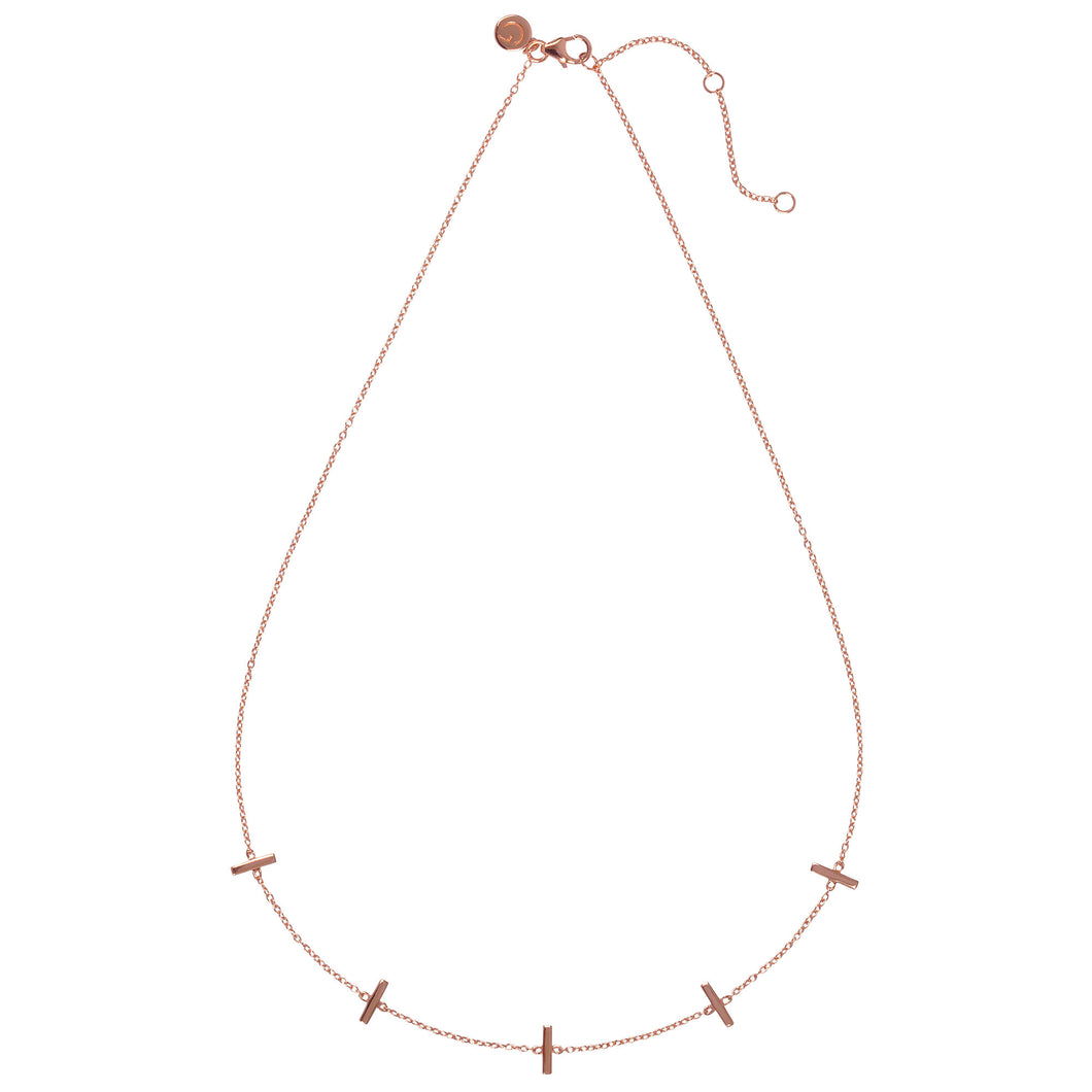 TOKYO – Sterling Silver 18ct Rose Gold Tokyo Necklace with Rose Bars elements-