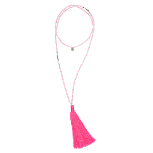 CAPRI: Pink Neon and Clear Crystal Beaded Capri Necklace with Tassel | G by Glenda Gilson