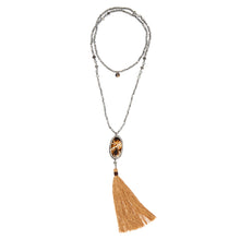 MUSTIQUE: Hematite Beaded Mustique Necklace with Shell and Tassel | G by Glenda Gilson