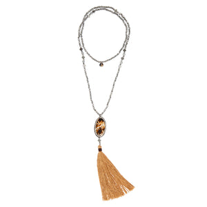 "MUSTIQUE: Hematite Beaded ""Mustique"" Necklace with Shell and Tassel 