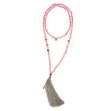 SICILY: Rose Quartz Beaded Sicily Necklace with Grey Tassel | G by Glenda Gilson