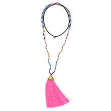 "ST. TROPEZ: Blue, Gold and Pink Beaded ""St.Tropez"" Necklace with Pink Tassel and Gold Clasp 