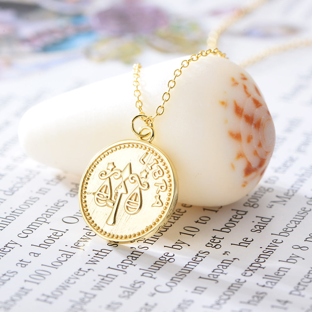 Libra Sterling Silver 18ct Yellow Gold Libra Star Sign Coin Necklace from G by Glenda Gilson
