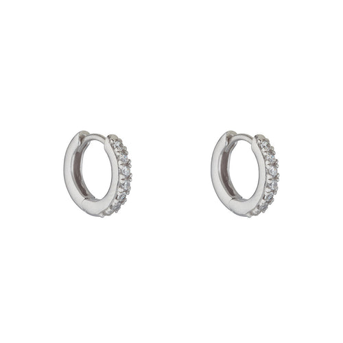 Sterling Silver Cubic Set Huggy Earrings