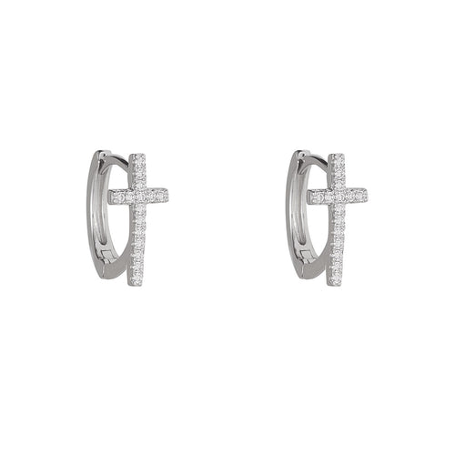 Sterling Silver Cubic Set Cross Huggy Earrings