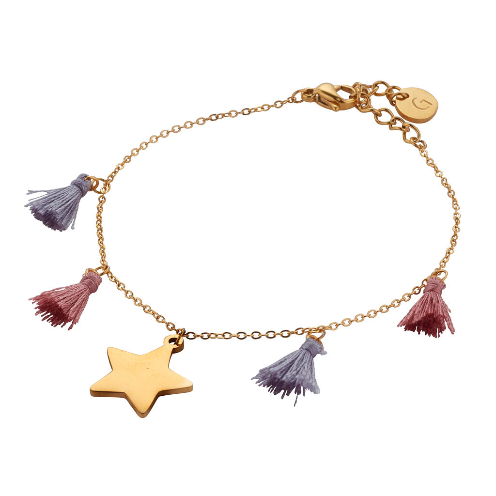 Bora Bora Bracelet: Gold Plated Star Bracelet with Silver Grey & Dusty Pink Tassle Elements