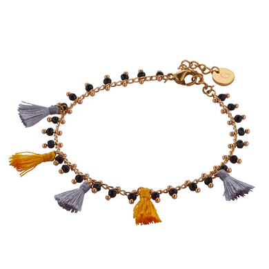 Hawaii Bracelet: Silver & Gold Tassles on Gold Chain with Ornate Black Bead Drops