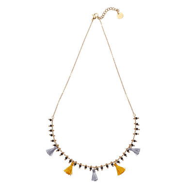 Hawaii Necklet: Silver & Gold Tassles on Gold Chain with Ornate Black Bead Drops