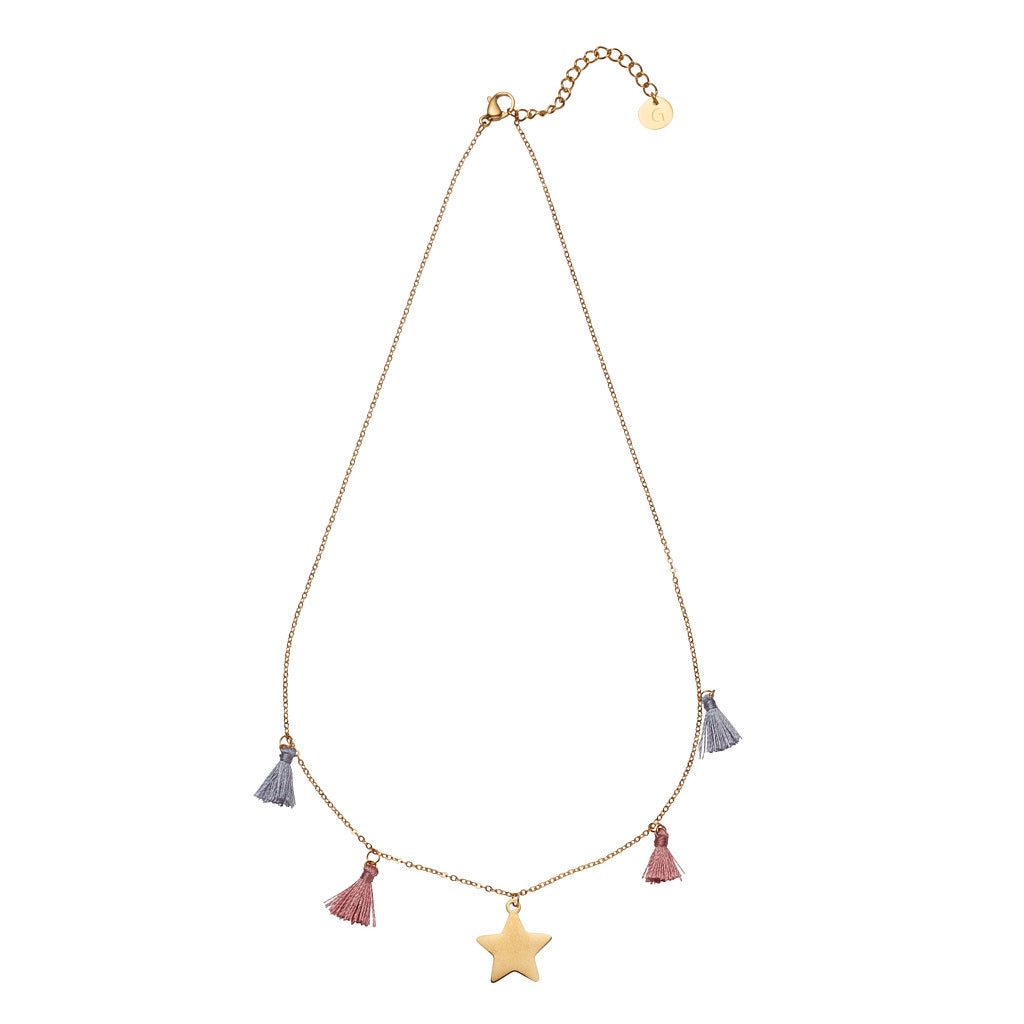 Bora Bora Necklet: Gold Plated Star Necklet with Silver Grey & Dusty Pink Tassle Elements