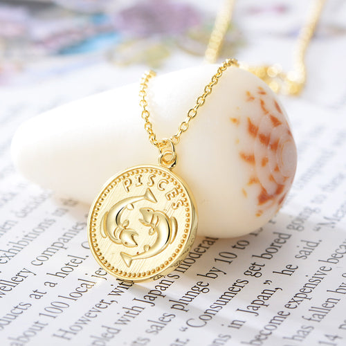 Pisces Sterling Silver 18ct Yellow Gold Pisces Star Sign Coin Necklace from G by Glenda Gilson