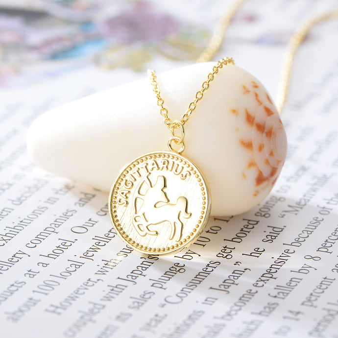 Sagittarius Sterling Silver 18ct Yellow Gold Sagittarius Star Sign Coin Necklace from G by Glenda Gilson