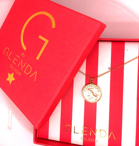Gemini Sterling Silver 18ct Yellow Gold Gemini Star Sign Coin Necklace from G by Glenda Gilson
