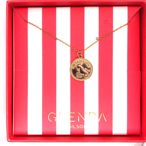 Leo - Sterling Silver 18ct Yellow Gold Leo Star Sign Coin Necklet /Pendant | G by Glenda Gilson