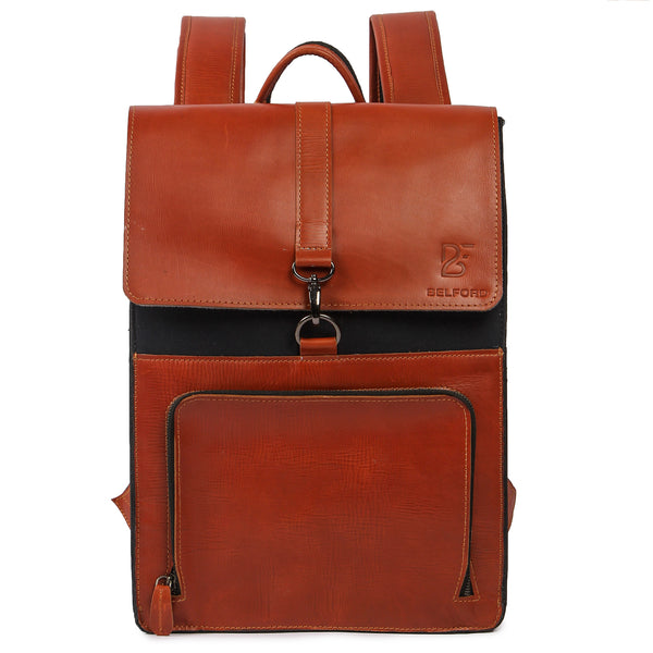 "Genuine Leather and Canvas Laptop Backpack for Men Women School Bag Travel Rucksack Sling (15"" 11"")"