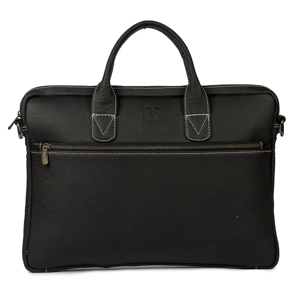 "Leather Messenger Bag 15"" Briefcase Satchel Shoulder Computer Laptop Black"