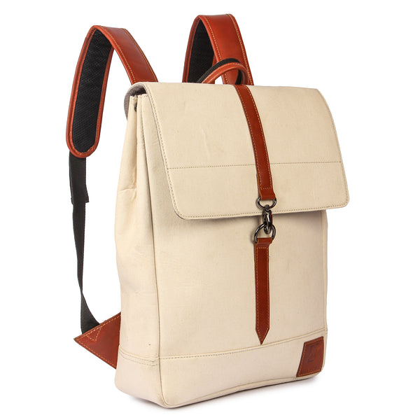 Genuine Leather and Canvas Laptop Backpack for Men Women School Bag Travel Rucksack Sling