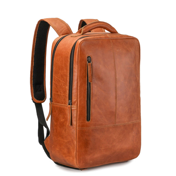 Genuine Leather Backpack Business Travel Daypack Fits 15 inch Laptop