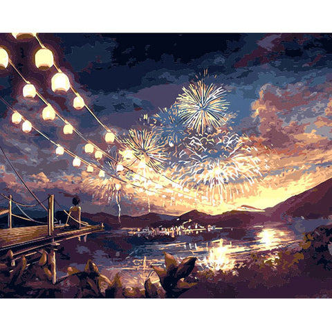 DIY Paint By Numbers: Fireworks Night Sky - Frame/Frameless