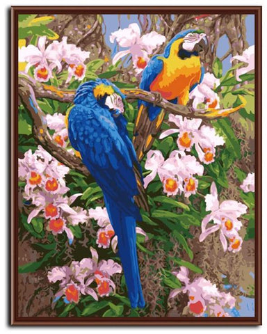 DIY Paint by Numbers: Lovebirds in Nature - Framed/Frameless