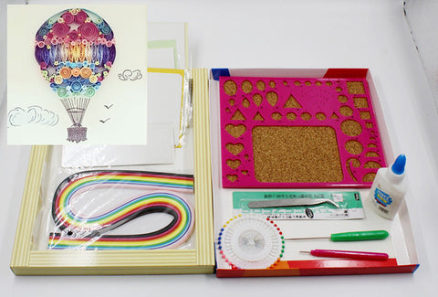 14pcs/set DIY Paper Quilling Kit featuring Air Balloon Pattern
