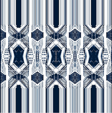 INVISIBILIS MOVERÉ | SILK SCARF LOCATION : LIPPO CENTER COLOUR : NAVY WHITE | IM1901WSV05_140