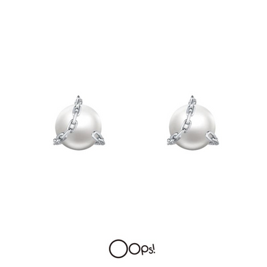 OOPS JEWELRY | Earrings | Rock Pearl Earrings | White Gold