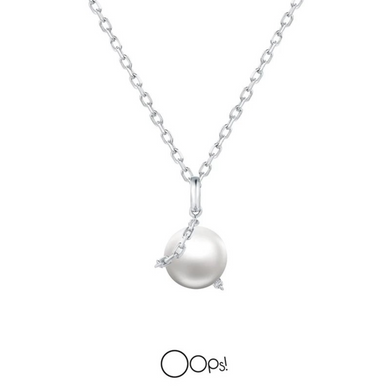 OOPS JEWELRY | Necklace | Rock Pearl Necklace | White Gold